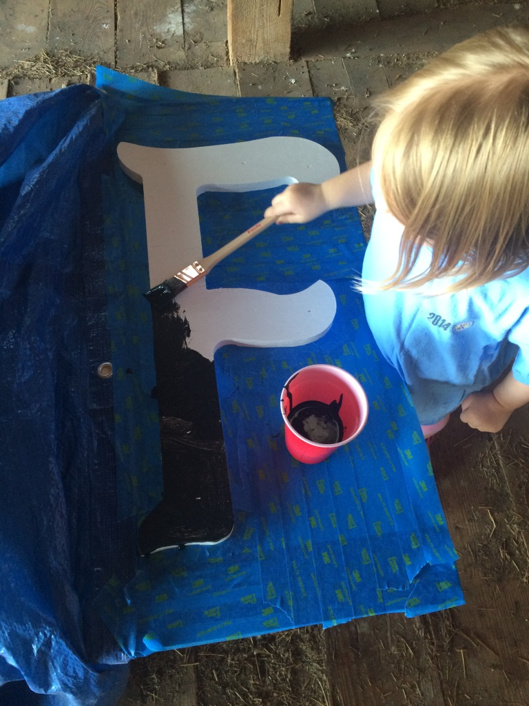 "Amelia painted a very thick coat on the ""F"". It will be black long after the others start to fade."