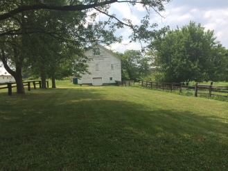 From the back of the house you can see the hay barn