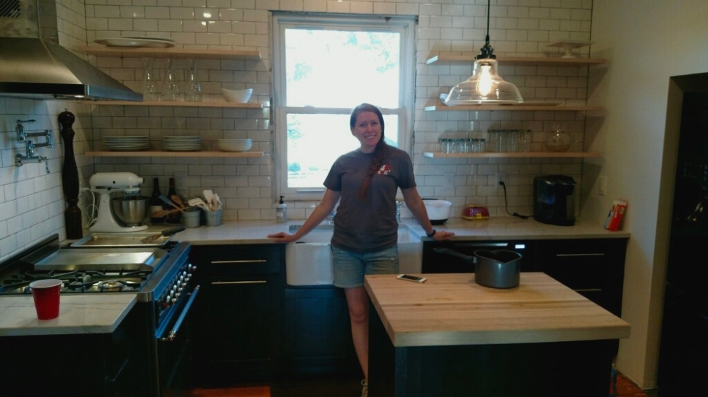 finished remodel of 100 year old farmhouse kitchen